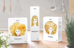En este empaque, la pasta simula ser el cabello de tres mujeres.