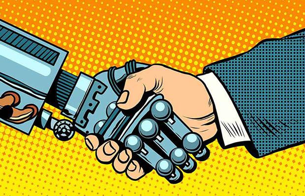 Handshake of robot and man. New technologies evolution