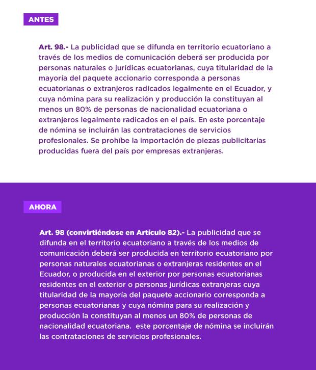 Articulo 98 Ley de Comunicaciones opiniones industria